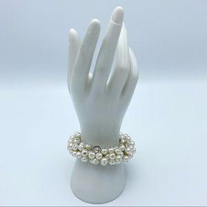 Cha Cha Faux Pearl Rhinestone Stretch Bracelet